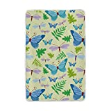 Vantaso Soft Blankets Throw Blue Butterflies With Green Leaves Microfiber Polyester Blankets for Bedroom Sofa Couch Living Room for Kids Children Girls Boys 60 x 90 inch