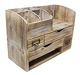 Large Adjustable Vintage Rustic Wooden Office Desk Organizer & Mail Rack For Desktop, Tabletop, or Counter - Distressed Torched Wood Storage Shelf Rack - For Office Supplies, Desk Accessories, or Mail