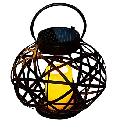 Solar Outdoor Lantern Hanging Rustic Candle Holder Vintage LED Flameless Taper Lights for Garden Wedding Decor Birthday Party Christmas Thanksgiving Tabletop Yard Patio Landscape Home Decoration Gift