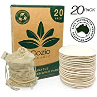20x Reusable Makeup Remover Pads - Reusable Cotton Pads - Pad Makeup Wipe Reusable - Zero-Waste, Natural & Organic Face Wipes - Soft & Durable Cotton Pads - Organic Hemp, Cotton Fabric - Includes a Natural Cotton Bag