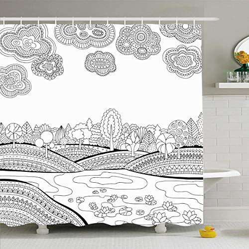Ahawoso Shower Curtain 72x78 Inches Printable Sky Coloring Page Adults Lake Zentangle Nature Ink Book Black Pond River Design Ornate Waterproof Polyester Fabric Bathroom Curtains Set with Hooks]()