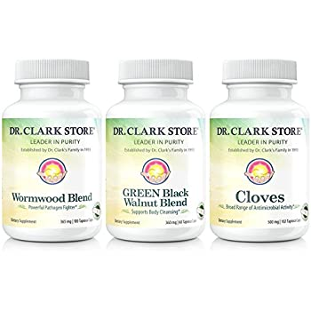 Dr. Hulda Clark Vegetarian Green Black Walnut, Wormwood, Cloves. Intestinal Whole Body Cleanse in Plant-based Tapioca Capsules.