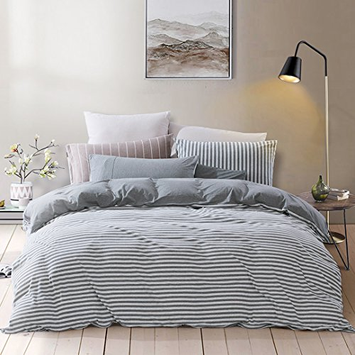 PURE ERA Striped Duvet Cover Jersey Knit Cotton Soft Comfy 3 Pieces Home Bedding Sets Reversible Comforter Cover with Pillow Shams Grey Queen Size (Comforter Cotton Queen Set)