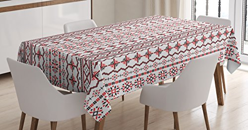 Lunarable Traditional Tablecloth, Classic Eastern European Romanian Pattern with Snowflakes Chevrons Pixel Design, Rectangular Table Cover for Dining Room Kitchen Decor, 60