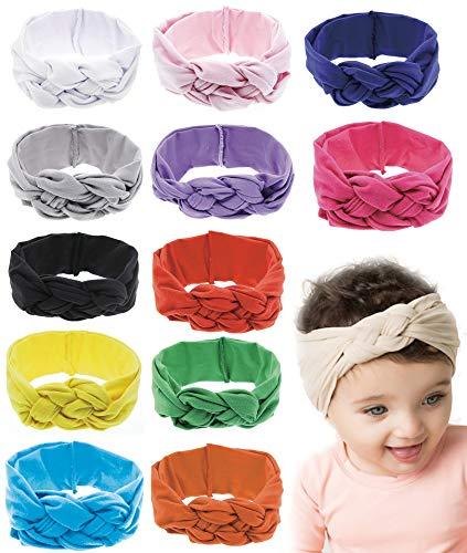 12pcs Baby Headbands Nylon Infant Headbands for Baby Girls Baby Head Wrap Baby Headbands Turban Knotted ()