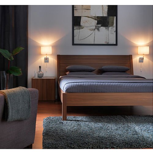Ikea Nyvoll Queen Bed Frame Medium Brown Amazon Co Uk Kitchen Home