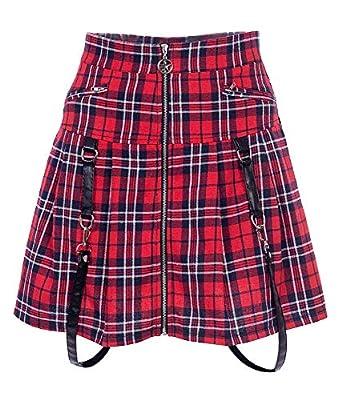 Nite closet Punk Rock Zip Up Pleated Skirt Clothing Red Tartan Gothic Short