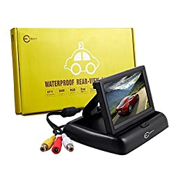 Backup Camera Monitor, Esky Foldable 4.3 Inch Anti-Glare Color LCD TFT High Definition Screen for Rear View Camera
