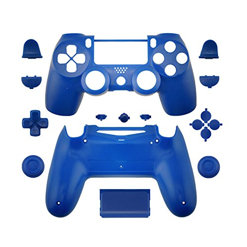 WPS Matte Controller Case Collection Full Housing Shell + Full buttons for PS4 Playstation Slim Pro (JDM-040) controller (Blue)