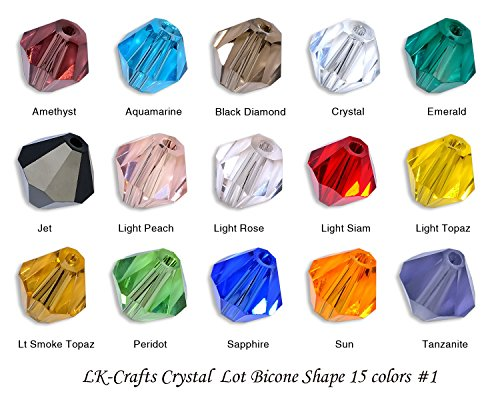 LK-CRAFTS Wholesale Lot 1500pcs Bicone (similar cut #5328/ 5301) 4mm Crystal Beads 15 colors with storage box. #1