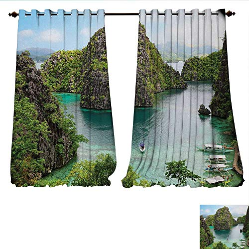 Window Curtain Drape Landscape of Majestic Cliff in Philippines Wild Hot Nature Resort Off Picture Decorative Curtains for Living Room W96 x L96 Green Brown Blue