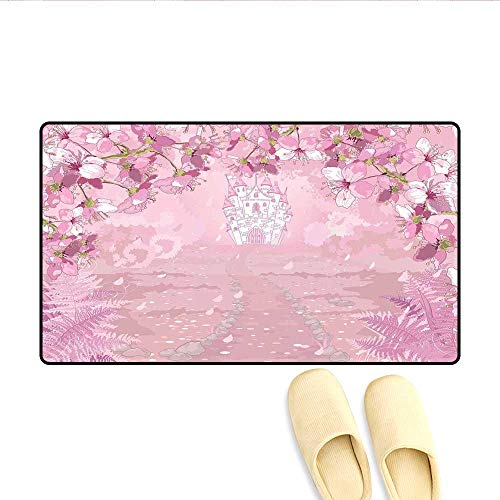 (Door Mats Fairy Medieval Castle Silhouette in The Middle of Flower Botany Fern Surreal Image Customize Bath Mat with Non Slip Backing Baby Pink 24