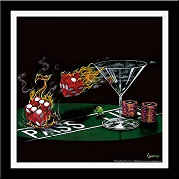 "W//Matting  18x18 Michael Godard,/"" Pocket Rockets/"" Framed Art"