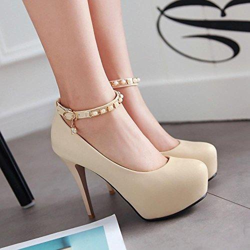 COOLCEPT Women Fashion Stiletto High Heels Pumps Ankle Strap with Platform Beige 5ZGjDsB
