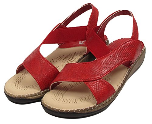 Womens Ladies Croc Print Strappy Flat Summer Wedge Heel Beach Sandals Shoes Size Red SIBg3x
