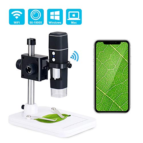 DEPSTECH WiFi 50X to 1000X Microscope,Portable 2 in1 Function USB 2.0 Digital Magnification Endoscope,Wireless Inspection Camera with 8 Adjustable LED Lights Working for iOS Smartphone,Android Smart