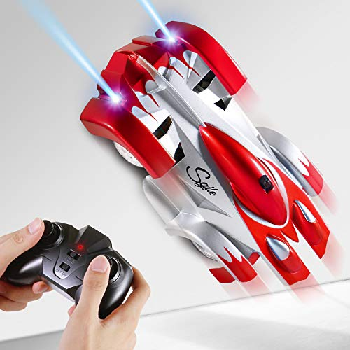 SGILE Remote Control Car, Wall Climbing RC Car Toy- Dual Mode 360° Rotating LED Head Stunt Car, Birthday Present Gift for Kids, Red