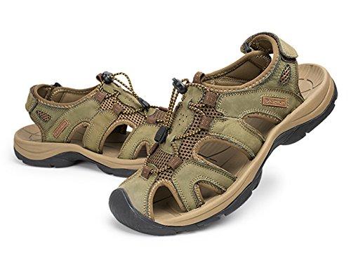Hombre Zapatos Montaña Velcro Cuero Verde caqui Con Sandalias de Studio Cerrada SK Outdoor Punta THqFW