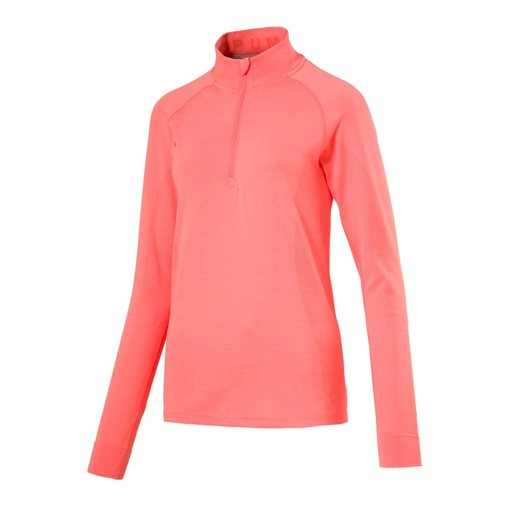 PUMA Golf 2017 Women's Evoknit 1/4 Zip, Angry Peach Heather, Medium by PUMA