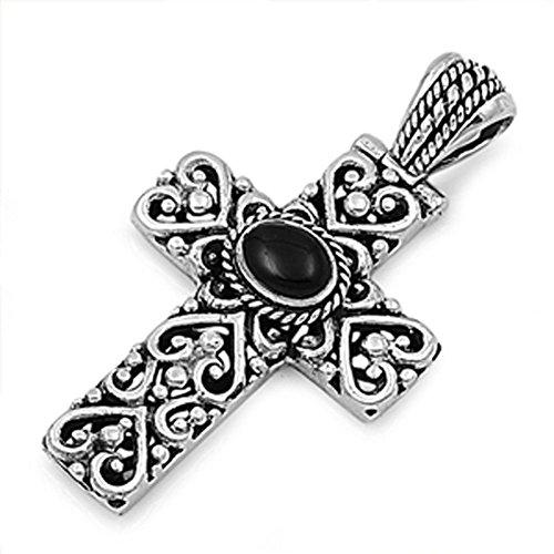 Swirl Cross Charm - Sterling Silver Filigree Swirl Polished Cross Black Simulated Onyx Pendant Charm