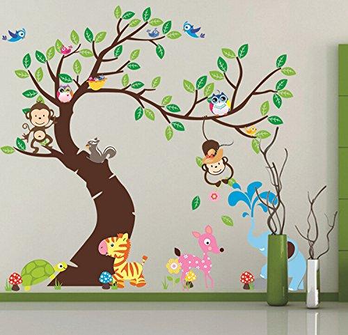 HALLOBO® Wandtattoo XXXL Eulenbaum Baum Eulen Eule Vogel Wald Tier Wandaufkleber Wandsticker Kinderzimmer Kinder baby