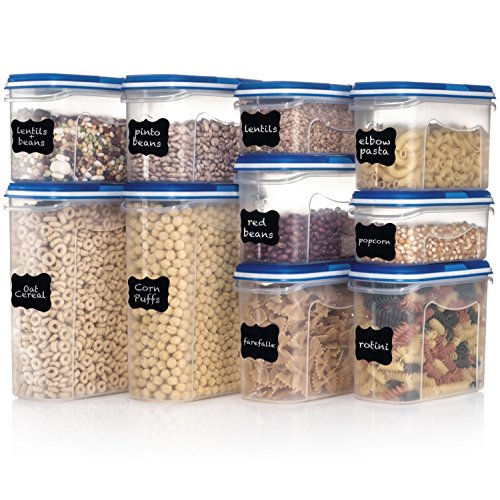 Shazo Food Storage Containers 20-Piece Set (10 Container Set) - Airtight Dry Food with Innovative Dual Utility Interchangeable Lid, FREE Labels & Marker, One Lid Fits All, Freezer Safe, Space Saver