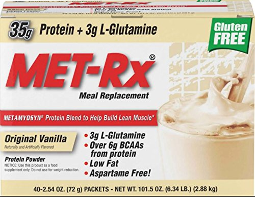 MET-Rx Original Whey Protein Powder, Great for Meal Replacement Shakes, Low Carb, Gluten Free, Original Vanilla, 2.54 oz. Packets, 40 Count ()