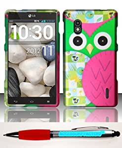 Accessory Factory(TM) Bundle (the item, 2in1 Stylus Point Pen) For LG Optimus G E970 (AT&T) Rubberized Design Case Cover Protector - Owl