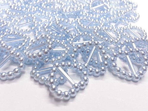 CraftbuddyUS 100 Blue Acrylic Heart Ribbon Slider Buckles for Wedding Invitations, Card Craft ()