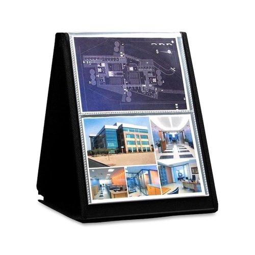 Lion FLIP-N-TELL Display Book-N-Easel, Letter, 40-pocket, Horizontal, black cover (39012)
