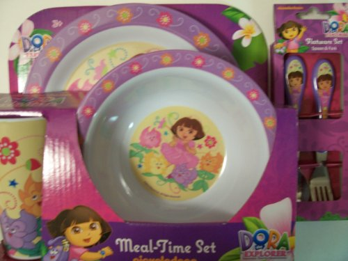 - Dora the Explorer 5 Piece KCARE Dining Set ~ Plate, Bowl, Cup, Fork, Spoon (Dora with Talking Flowers)