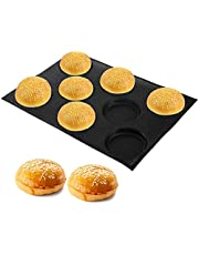 Suwimut Silicone Hamburger Bread Forms, Perforated Bakery Molds Non Stick Baking Sheets, Black