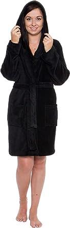 723c848a9e Silver Lilly Lightweight Hooded Short Robe for Women - Plush Fleece Luxury  Kimono Bathrobe (Black