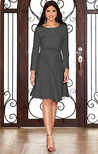Koh Koh Womens Long Sleeve Dressy A Line Fall Winter Formal Flowy