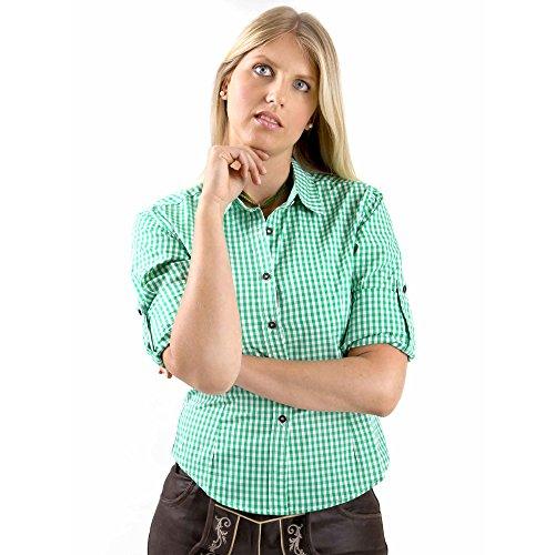 Almbock Trachtenbluse Jessie grün in Gr. 34 36 38 40 42 44 - grün-karierte Bluse - orginal bayrisch, Karo-Muster