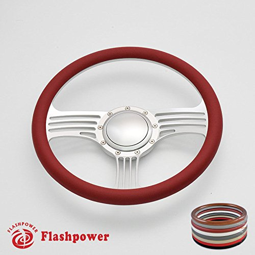 Flashpower 14'' Billet Half Wrap Steering Wheel with 9 Bolts 2'' Dish and Horn Button(Red) - Half Wrap