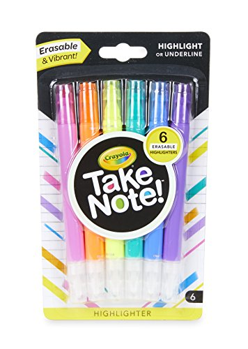 Erasable Highlighter - Crayola Take Note! Erasable Highlighters, School Supplies, 6 Count