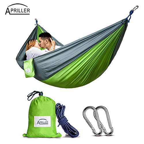 Apriller 2 person hammock Camping Hammock Portable Hammock Lightweight Nylon Portable Hammock Best Parachute Double Hammock for Light Travel,Camping,Hiking,Backpacking,Mats,Carpet