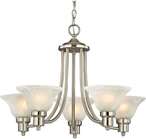 Design Classics Lighting Satin Nickel Modern Hanging Chandelier Light Fixture