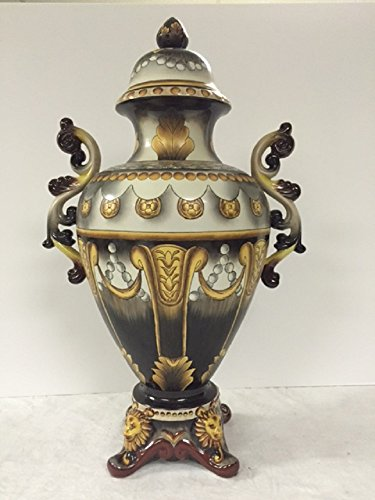 - Large lidded Italian cramic jardinere...hand painted scrolls, leaves, lions on this elegant piece, pretty scroll handles adorn the sides of this piece