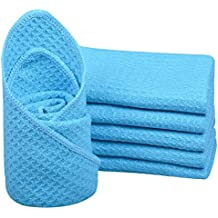 Sinland Microfibre Kitchen Dish Towel Waffle Weave Dish Cloths Sets Cleaning Cloth Dishcloth 12 Inch X 12 Inch 6 Pack Turquoise