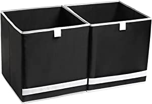 YueYue Foldable Cloth Storage Cube Basket Bins Organizer,2 Pack Fabric Stroage Bins Large,Washable Open Home Fabric Box with Contrast Color Great for Home&Office 12 x12 x13