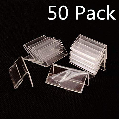 (50pcs Sign Display Holder Price Name Card Tag Label Counter Top Stand Case 4cm x 2cm)