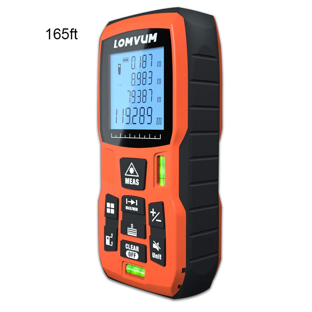 165ft Laser Measure LOMVUM Laser Distance Measure with Mute Function Large LCD Backlight Display Measure Distance Area and Volume Pythagorean Mode Battery Included