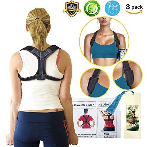 Back Posture Corrector for Women Men, Effective Primate Posture Brace & Armpit Pads, Comfortable Clavicle Brace, Adjustable Thoracic Kyphosis Brace, Upper Back Clavicle Posture Support (REG 32''-45'') by Risheng