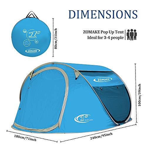 Zomake Pop Up Tent 3 4 Person Beach Tent Sun Shelter For