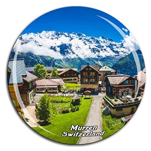 Murren Switzerland Fridge Magnet 3D Crystal Glass Tourist City Travel Souvenir Collection Gift Strong Refrigerator Sticker