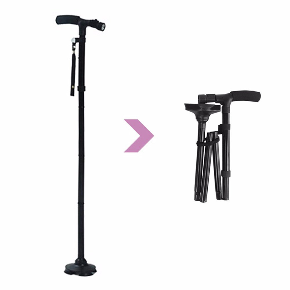 Folding Cane Walking Cane with LED Light for Men & Women & Elder- Collapsible, Lightweight, Travel,Adjustable & Portable Walking Stick Mobility Aid by Finlon