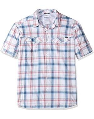 Men's Big-Tall Silver Ridge Plaid Long Sleeve Shirt, Sunset Red Window Pane, 3XT