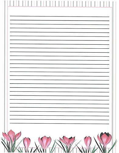 Girl's Camp Floral Lined Stationery Paper 26 (Children Lined Stationery)